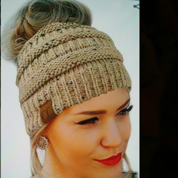 d9d9fc86e SALE💋CC Quality Knit Messy Bun Beanie Hat Boutique